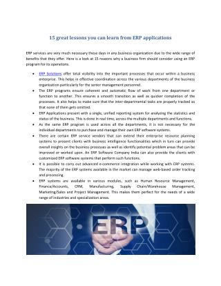 15 great lessons you can learn from ERP applications