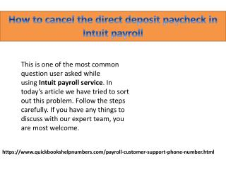 How to cancel the direct deposit paycheck in Intuit payroll