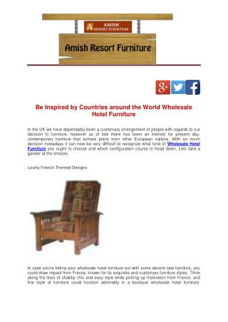 Be Inspired by Countries around the World Wholesale Hotel Furniture