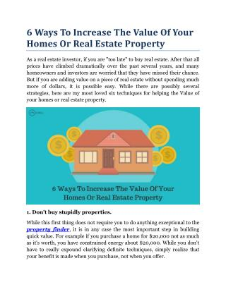 6 Ways To Increase The Value Of Your Homes Or Real Estate Property