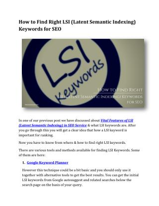 How to Find Right LSI (Latent Semantic Indexing) Keywords for SEO