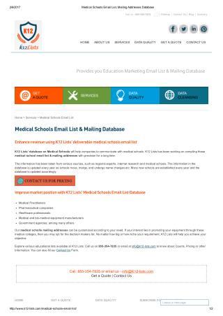 Medical School Email List & Mailing Addresses
