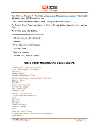 Oracle Fusion Manufacturing Online Training
