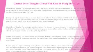 Charter Every Thing Inc Travel Tips That Everyone Should Know About