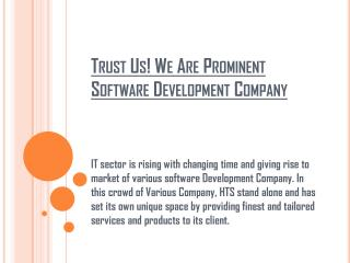 Trust Us! We Are Prominent Software Development Company