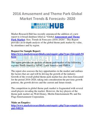 Amusement and Theme Park Global Market Trends & Forecasts- 2020