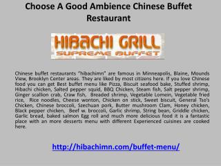 Choose a Good Ambience Chinese Buffet Restaurant