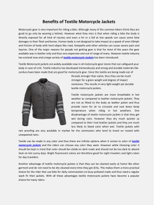 Benefits of Textile Motorcycle Jackets