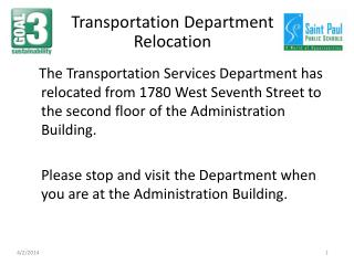 Transportation Department Relocation