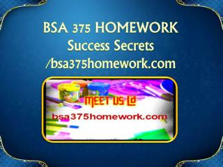 BSA 375 HOMEWORK Success Secrets/bsa375homework.com