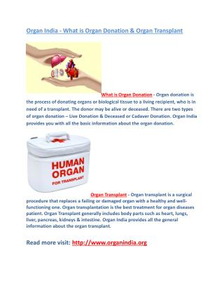 Organ India - What is Organ Donation & Organ Transplant