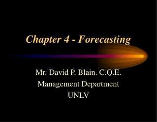 Chapter 4 - Forecasting
