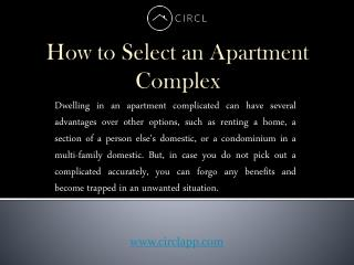 How to Select an Apartment Complex | CIRCL