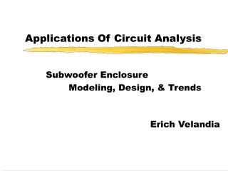Applications Of Circuit Analysis