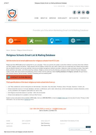 Religious School Email Addresses