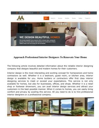 Approach Professional Interior Designers To Renovate Your Home