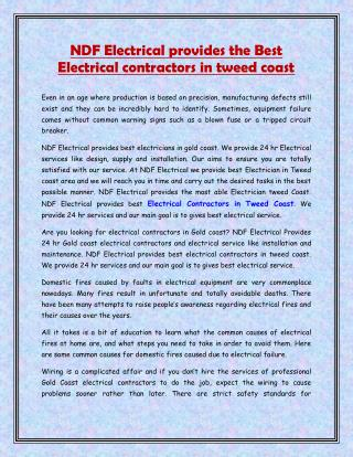 NDF Electrical provides the Best Electrical contractors in tweed coast