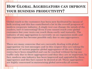 How global aggregators can improve your business productivity?