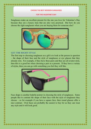 CHOOSE THE BEST WOODEN SUNGLASSES FOR THIS VALENTINE'S DAY