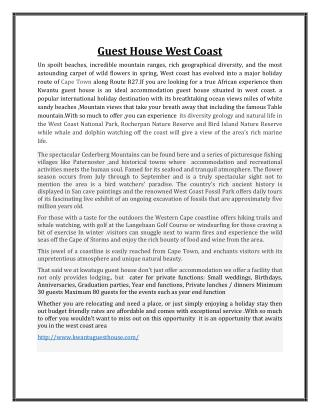 Guest house west coast
