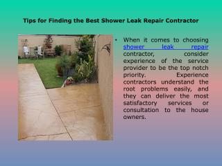 Tips for Finding the Best Shower Leak Repair Contractor