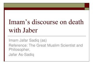 Imam's discourse on death with Jaber