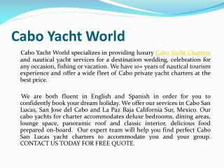 Cabo Luxury Yacht Charters