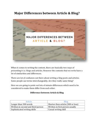 Major Differences between Article & Blog?