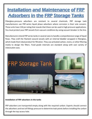 Installation and Maintenance of FRP Adsorbers in the FRP Storage Tanks