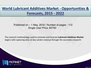 Global Lubricant Additives Market to Grow at a CAGR of 2.6% over the period 2015-2022