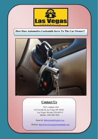 How Does Automotive Locksmith Serve To The Car Owners?