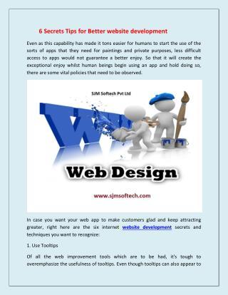 Secrets Tips for Better website development