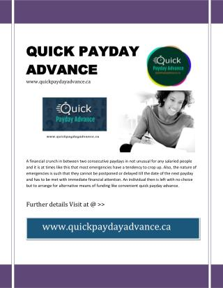 Quick Payday Advance - Get Instant Cash Advance At Ease
