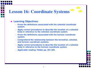 Lesson 16: Coordinate Systems