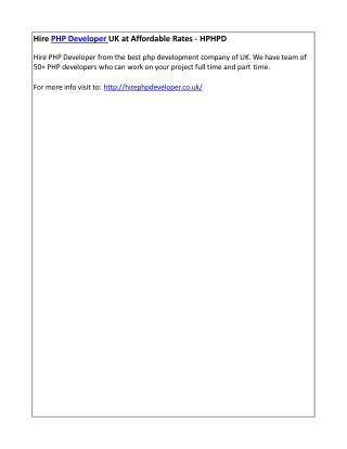 Hire PHP Developer UK at Affordable Rates - HPHPD