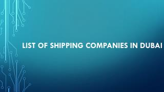 list of shipping companies in Dubai
