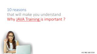 10 reasons that will make you understand Why JAVA Training is important ? :