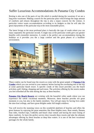Specifications Regarding Panama City Condos
