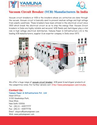 Vacuum Circuit Breaker Manufacturers India