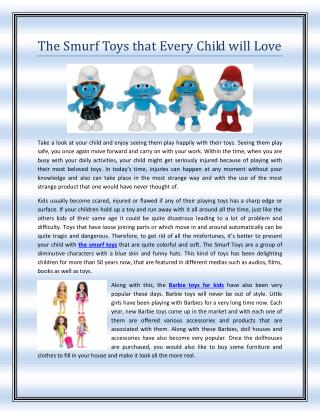 The Smurf Toys that Every Child will Love
