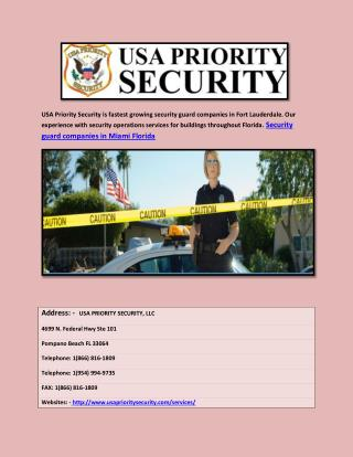 Security guard companies in miami Florida