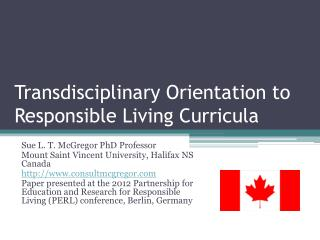 Transdisciplinary Orientation to Responsible Living Curricula
