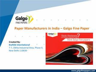 Fine Paper Manufacturers in India – Galgofinepaper
