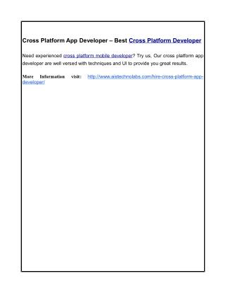 Cross Platform App Developer – Best Cross Platform Developer