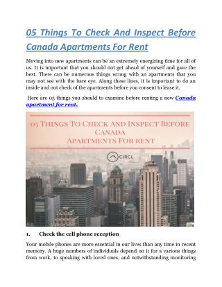 05 Things To Check And Inspect Before Canada Apartments For Rent