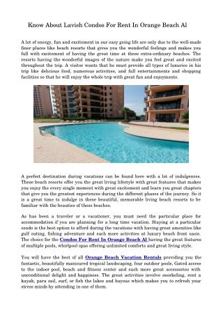 Try Out The Luxurious Condos For Rent In Orange Beach Al
