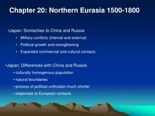 Chapter 20: Northern Eurasia 1500-1800