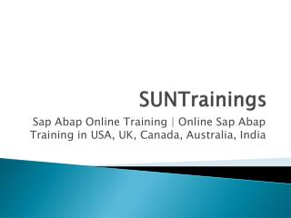 Sap Abap Online Training | Online Sap Abap Training in USA, UK, Canada, Australia, India