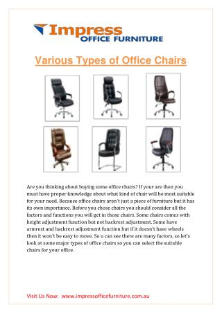 VARIOUS TYPES OF OFFICE CHAIRS