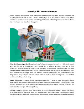 Laundry No more a burden
